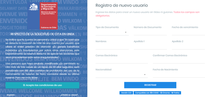 registro extranjeria chile
