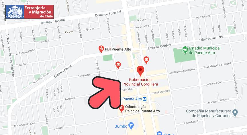 mapa cordillera